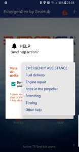 Help at sea call in EmergenSea app